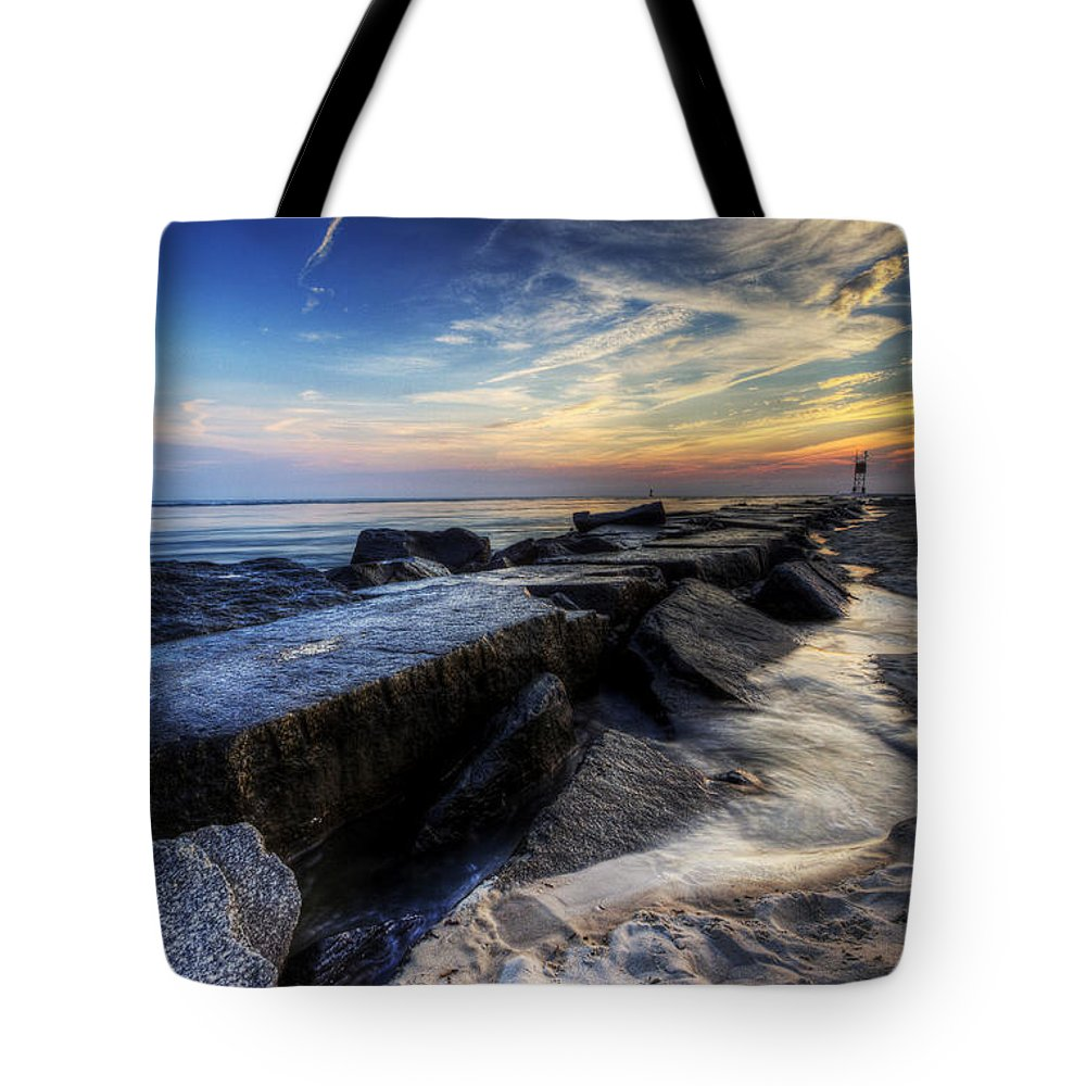 Delaware Tote Bag featuring the photograph Indian River Inlet Sunrise by David Dufresne