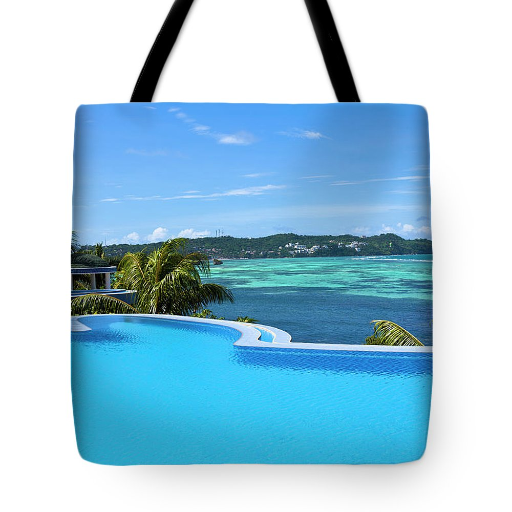 Scenics Tote Bag featuring the photograph Infinity Swimming Pool by 35007