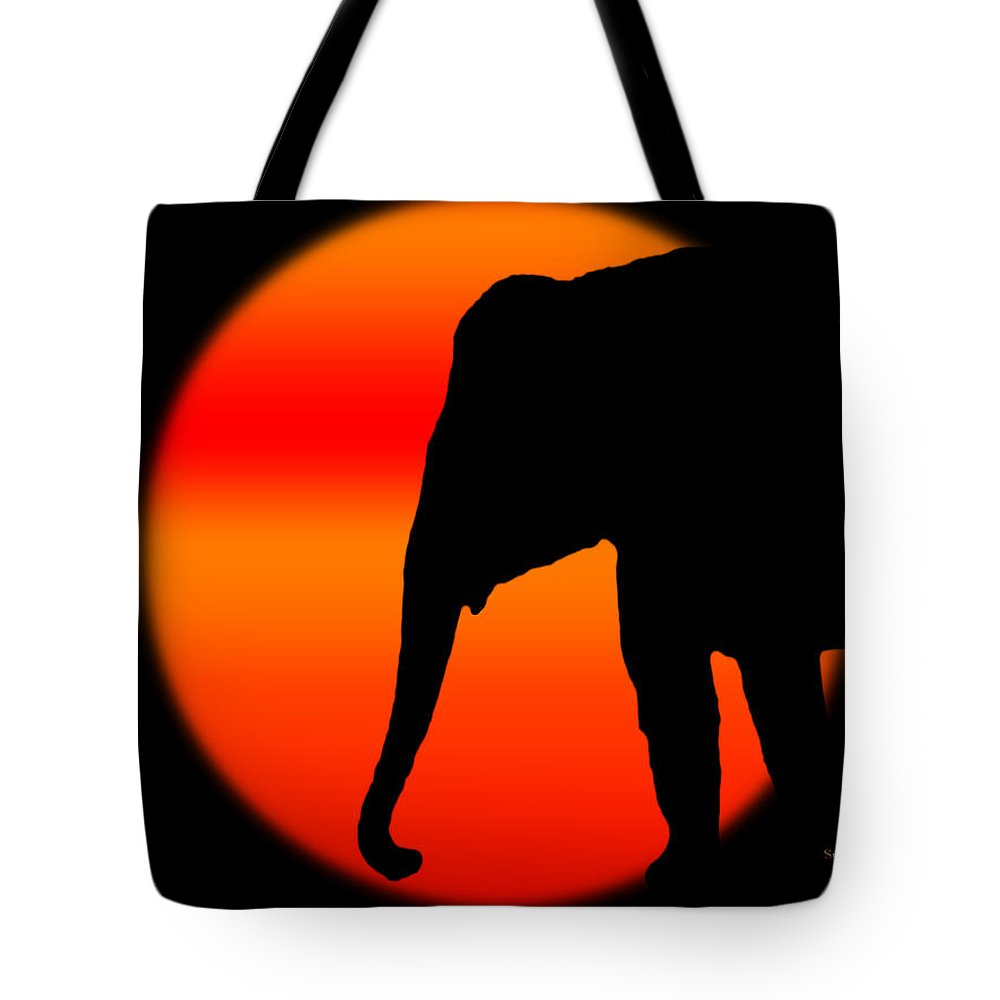 Elephant Tote Bag featuring the digital art Into The Night by Robert Orinski