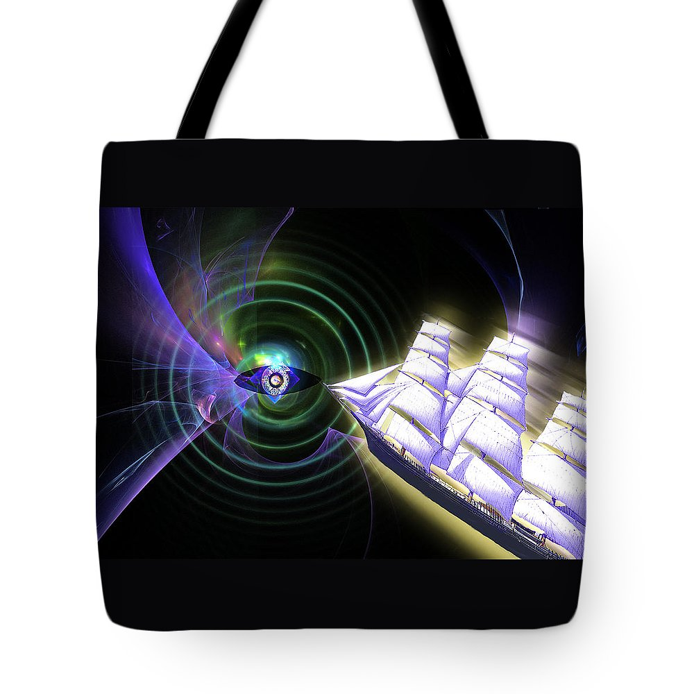 Ship Tote Bag featuring the digital art Into The Unknown by Lisa Yount