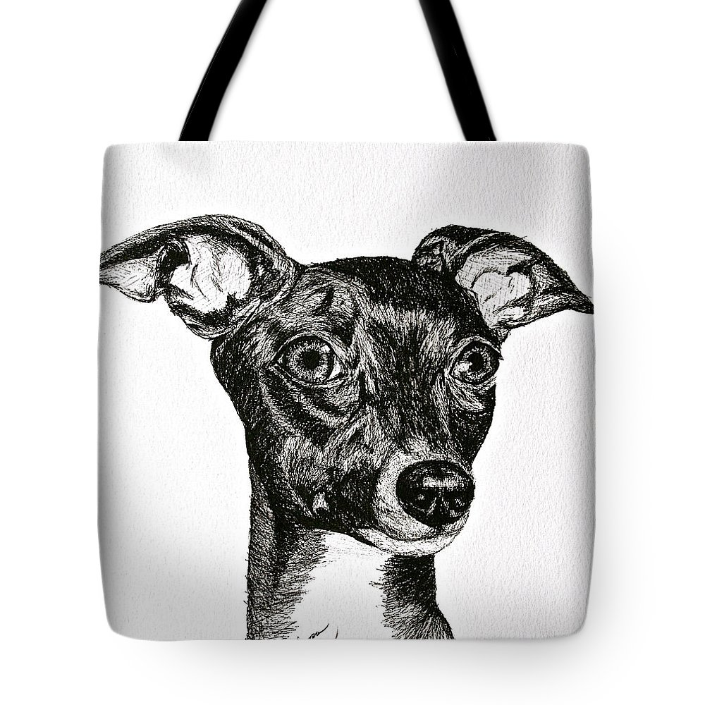 Ig Tote Bag featuring the drawing Italian Greyhound by Susan Herber