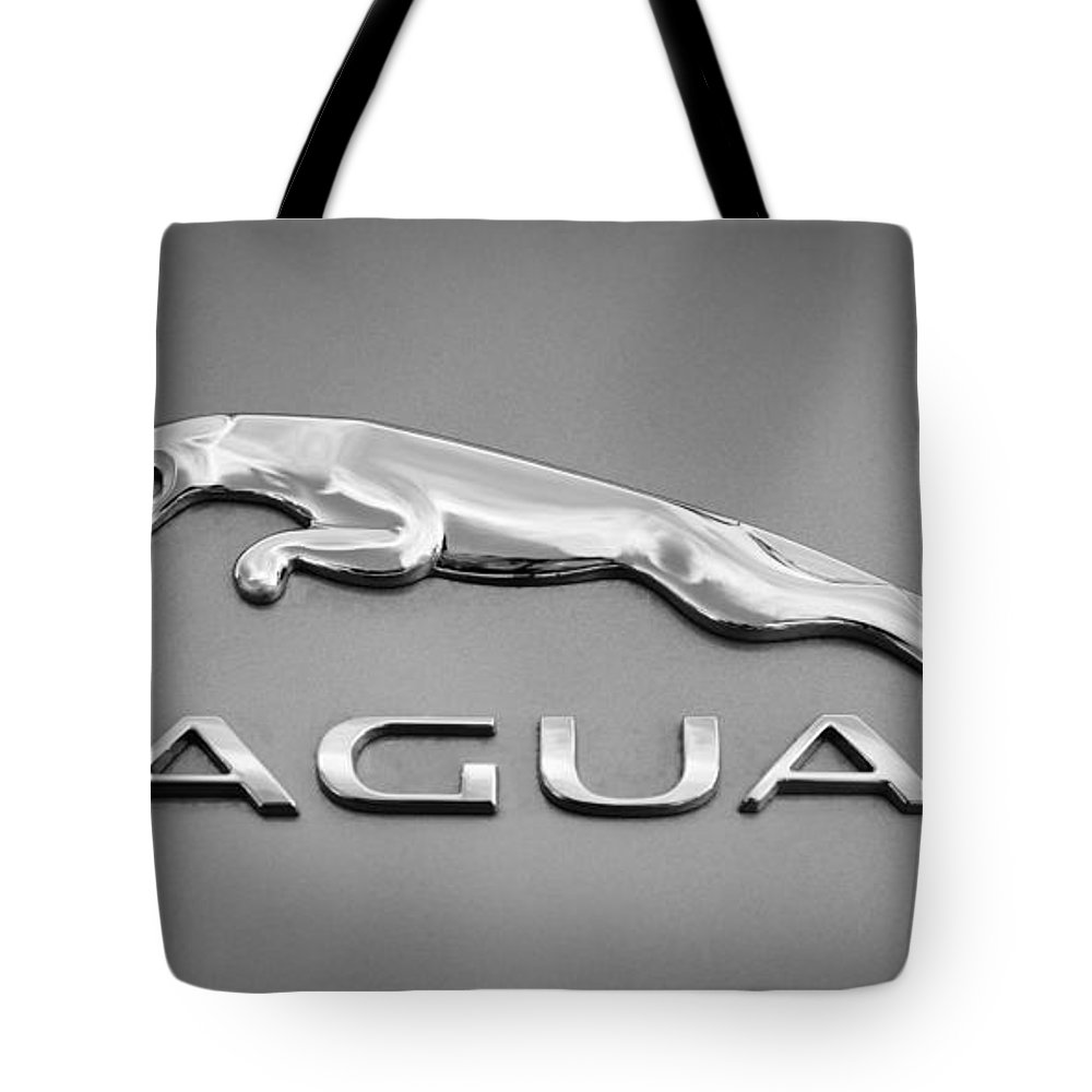 Jaguar F Type Emblem Tote Bag featuring the photograph Jaguar F Type Emblem by Jill Reger