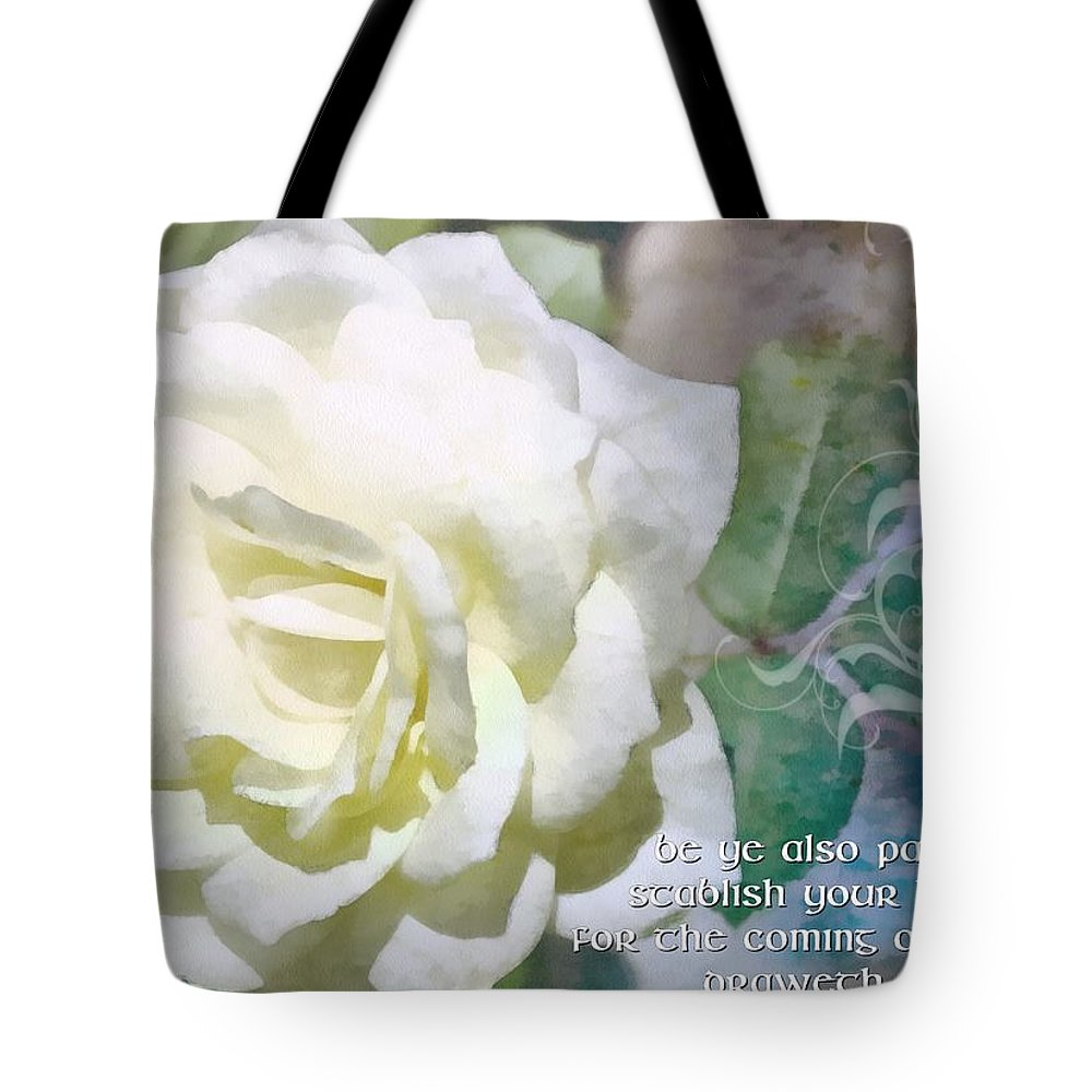 Jesus Tote Bag featuring the digital art James 5 8 by Michelle Greene Wheeler