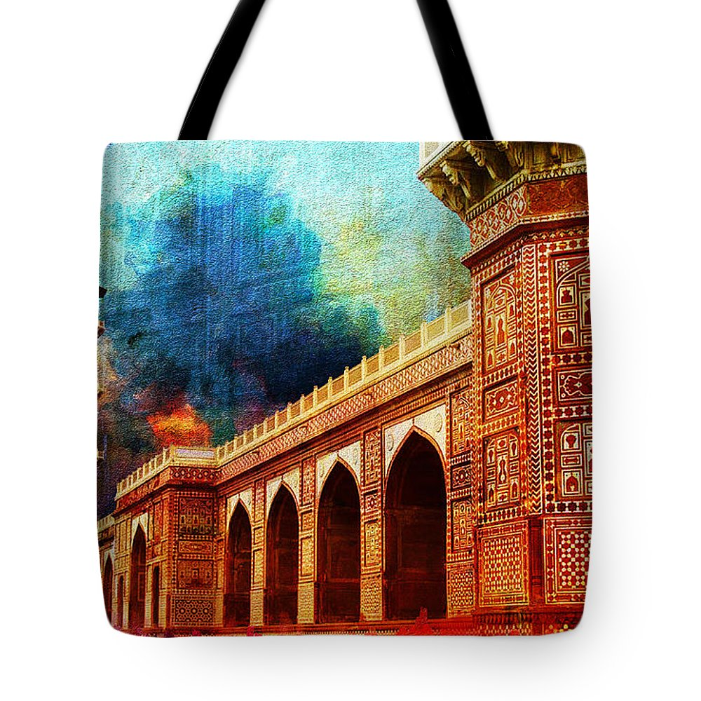Pakistan Tote Bag featuring the painting Jhangir Tomb by Catf