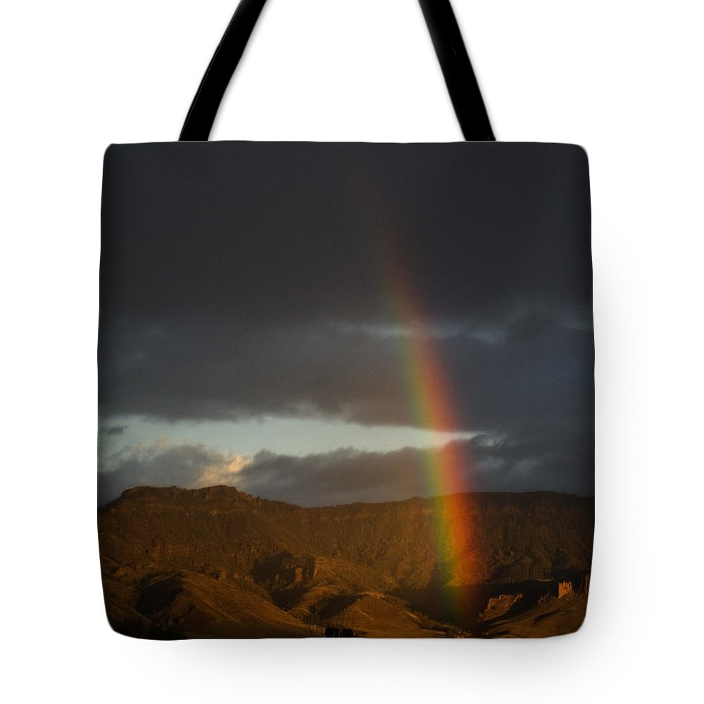 Rainbow Tote Bag featuring the photograph Jim Mountain Rainbow by J L Woody Wooden