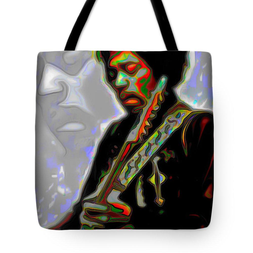 Jimi Hendrix; Jimi Hendrix Picture; Portrait Painting; Fine Art; Fine Art America; Fine Art Print; Figurative Art; Man; Modern Art; Music; Celebrity; Contemporary Art; Fli Tote Bag featuring the painting Jimi Hendrix by Fli Art
