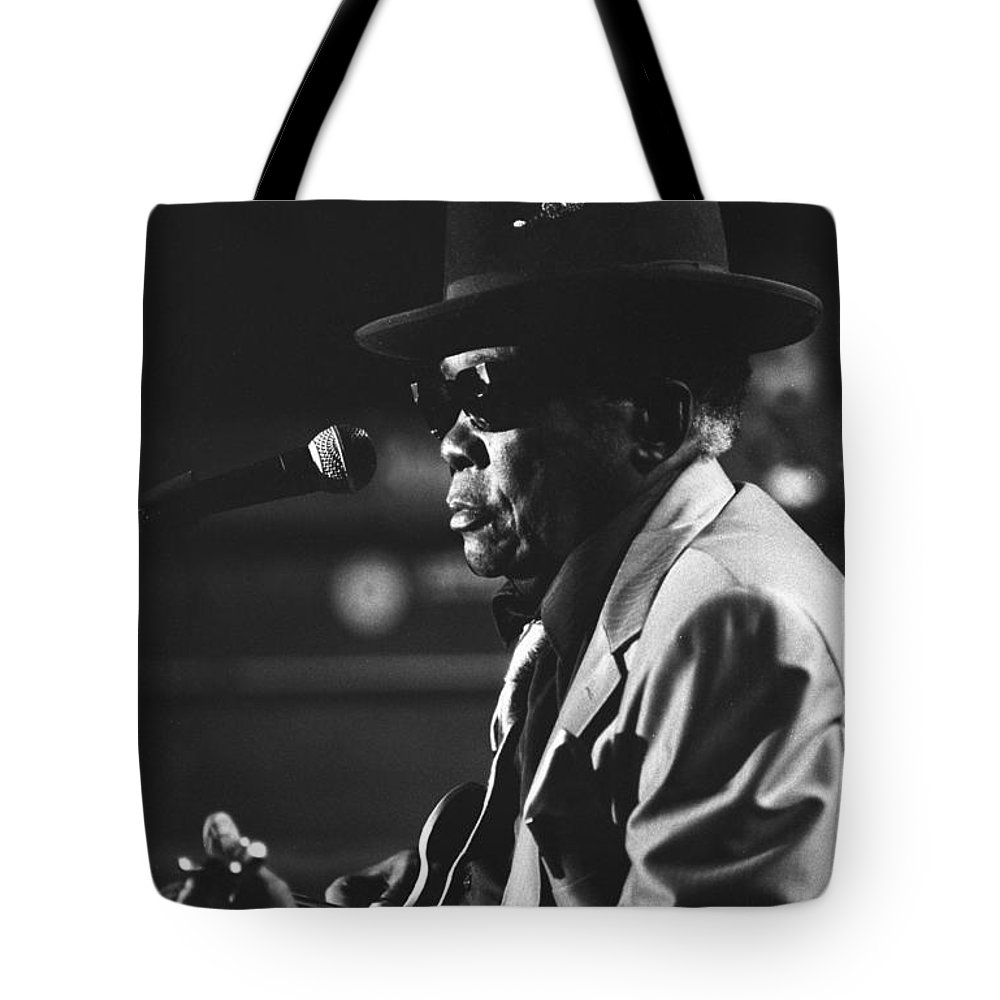 Blues Singer Tote Bag featuring the photograph John Lee Hooker by Concert Photos