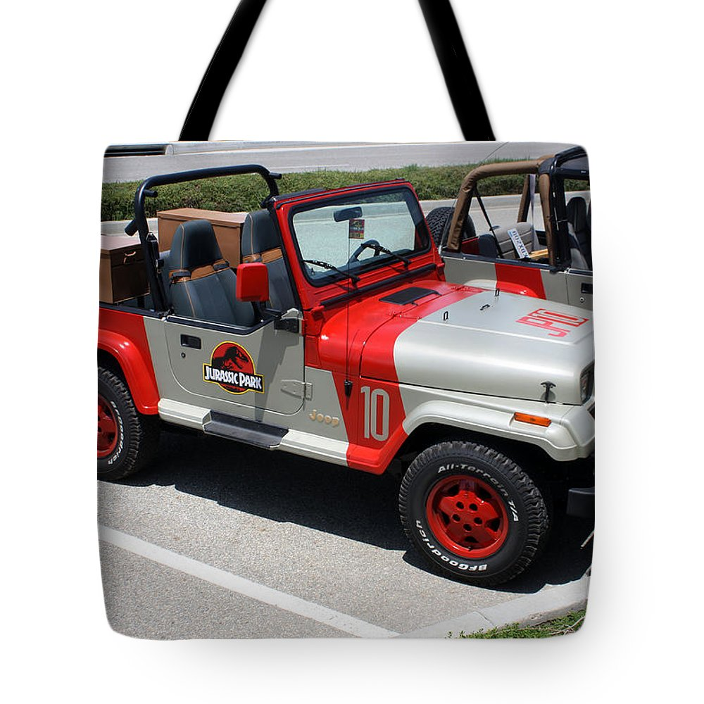jurassic park jeeps tote bag for saletommy anderson