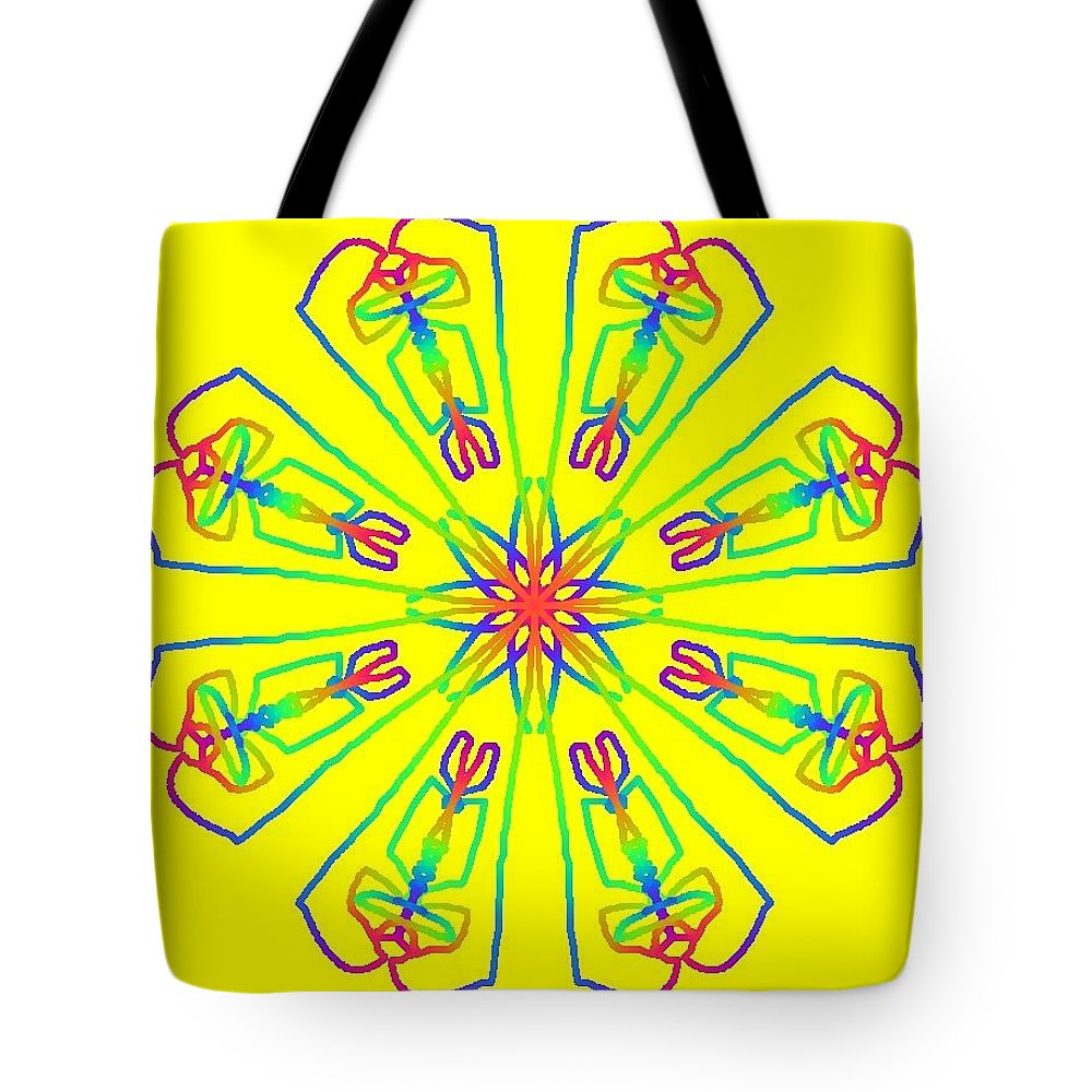 Rainbow Tote Bag featuring the drawing Kaleidoscope by Bruce Nutting