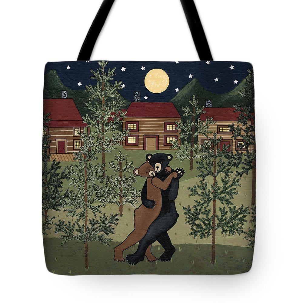 Cabin Tote Bag featuring the painting Karl And Dana by Medana Gabbard