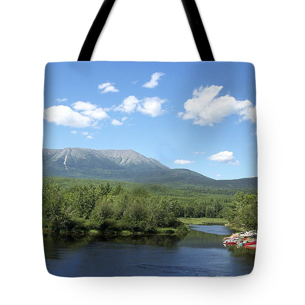 Katahdin Tote Bag featuring the photograph Katahdin From Abol Bridge by Georgia Hamlin