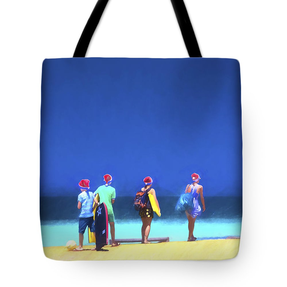 Children In Santa Hats Tote Bag featuring the photograph Kids in santa hats at beach by Sheila Smart Fine Art Photography
