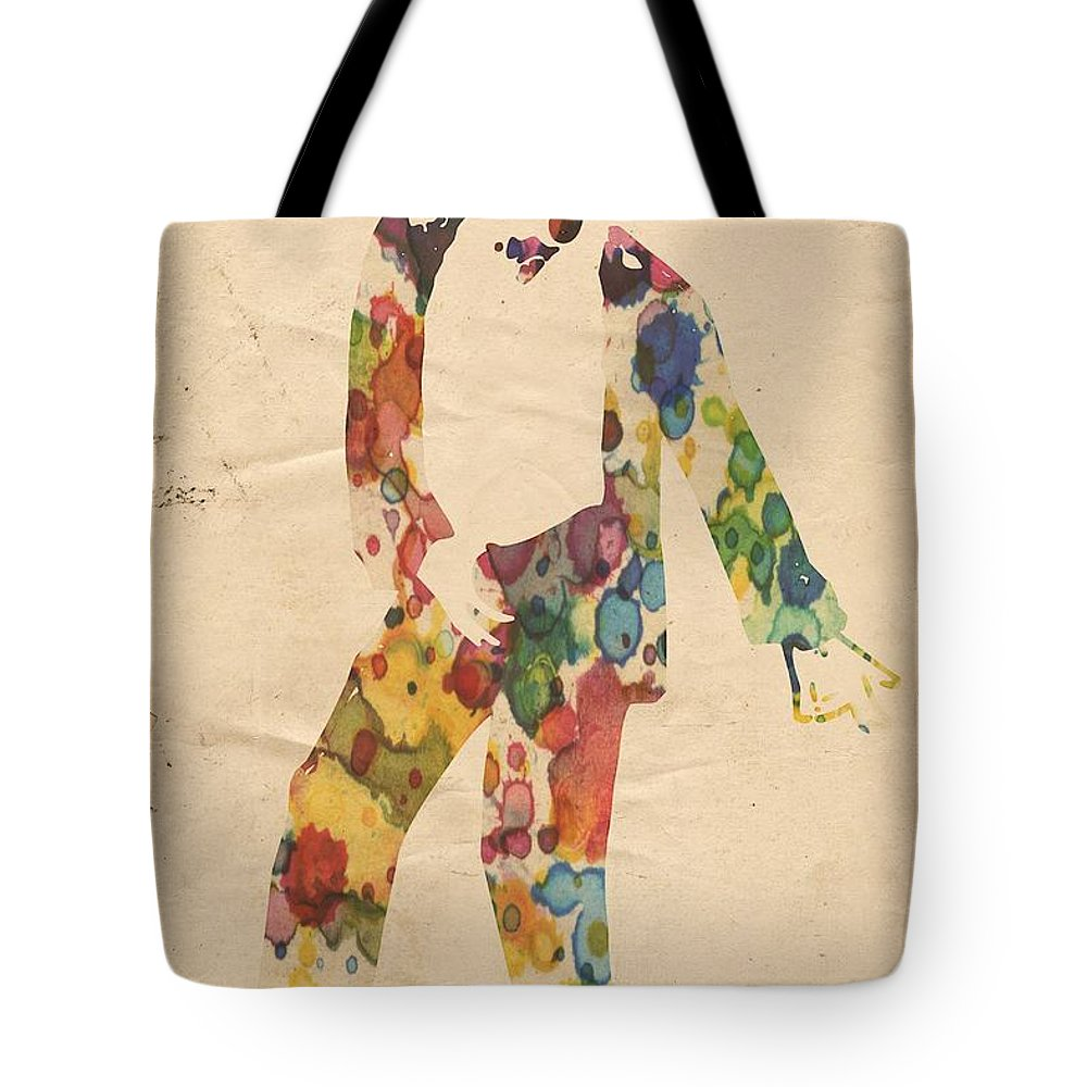 Michael Jackson Tote Bag featuring the painting King Of Pop In Concert No 6 by Florian Rodarte