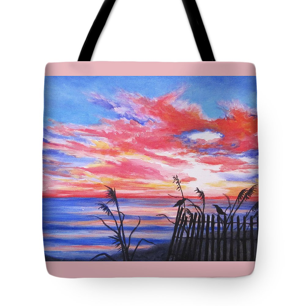 Beach Tote Bag featuring the painting Ks Sunrise by Anne Marie Brown