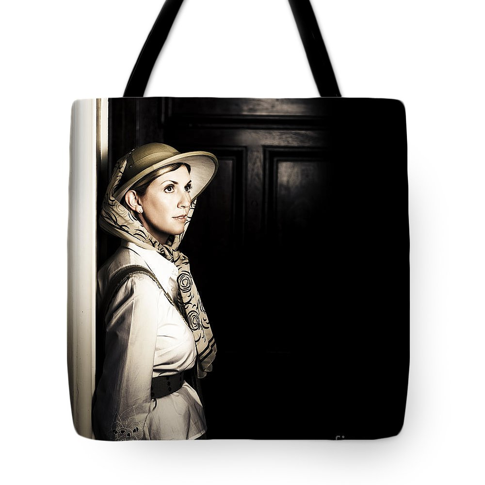 Adult Tote Bag featuring the photograph Lady In Vintage Attire At Night by Jorgo Photography - Wall Art Gallery