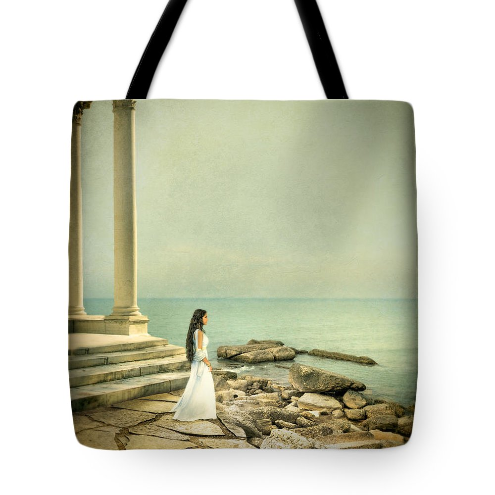 Woman Tote Bag featuring the photograph Lady In White By The Sea by Jill Battaglia