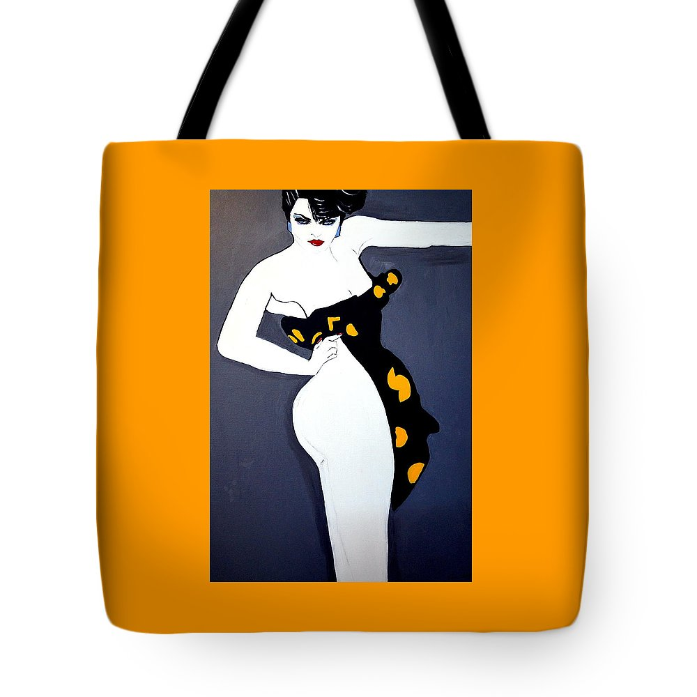 Lady Of The Night Tote Bag featuring the painting Lady Of The Night by Nora Shepley