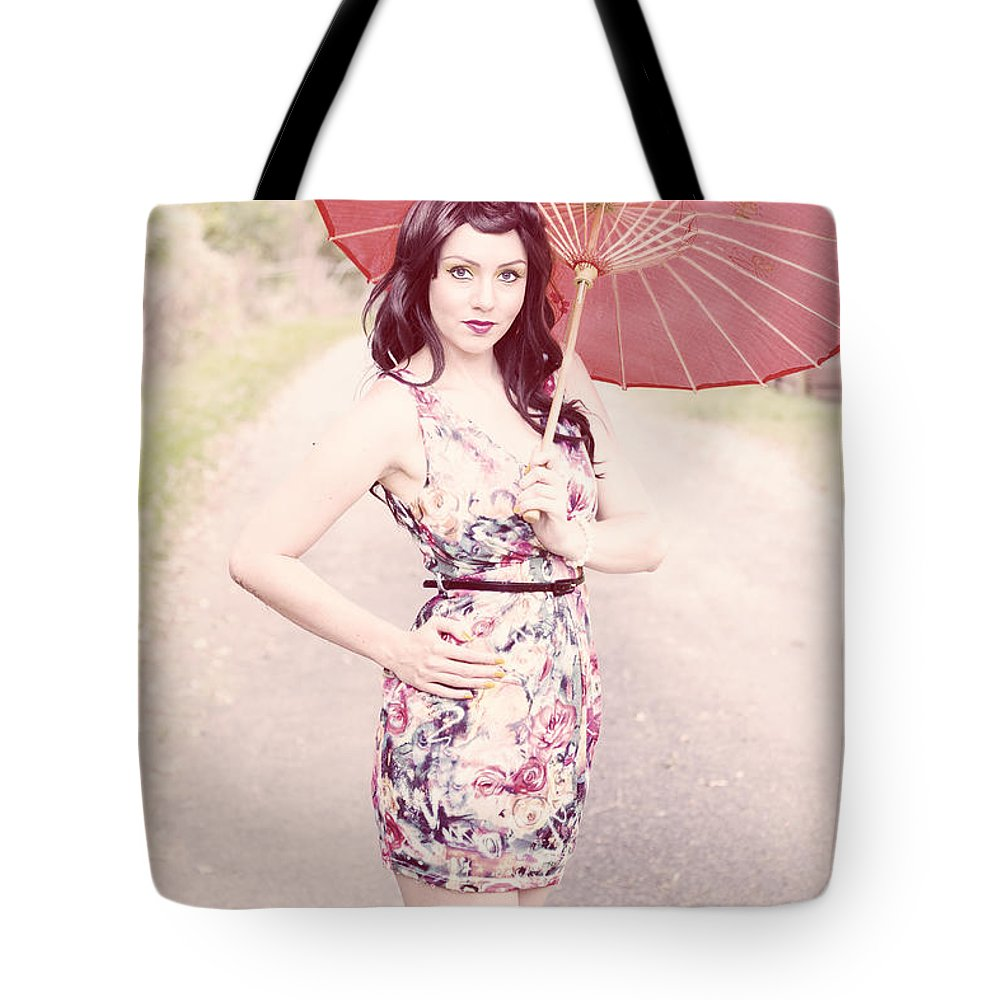 Bright Tote Bag featuring the photograph Lady With Red Parasol by Jorgo Photography - Wall Art Gallery