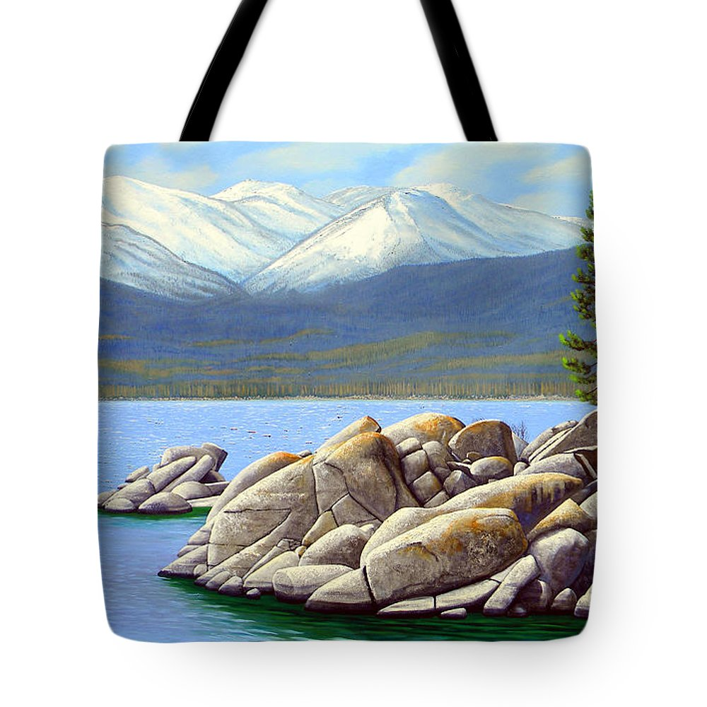 Lake Tahoe Sand Harbor Tote Bag featuring the painting Lake Tahoe Sand Harbor by Frank Wilson