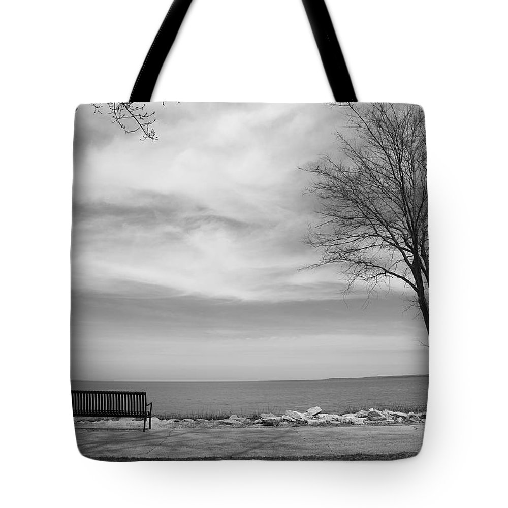 Art Tote Bag featuring the photograph Lake Tree And Park Bench by Frank Romeo