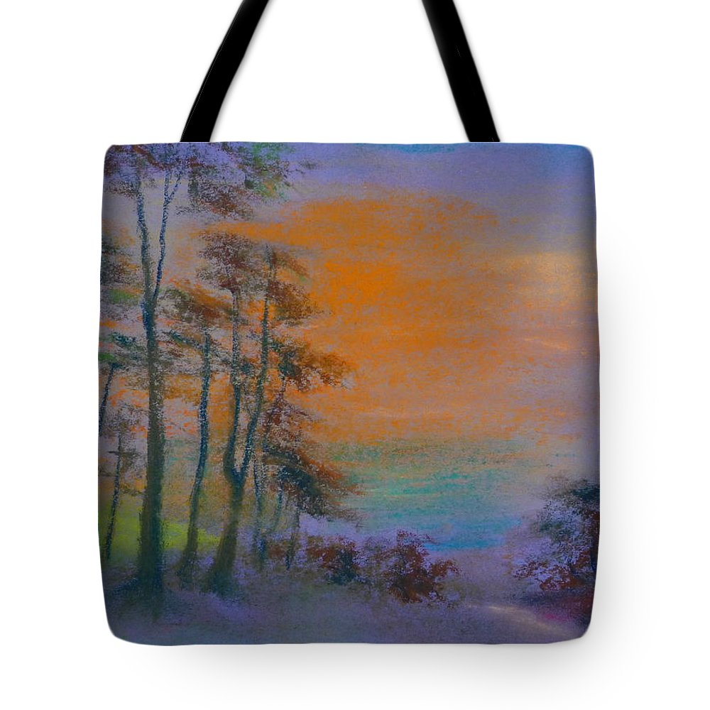 Landscape Tote Bag featuring the painting Lands End by Pusita Gibbs