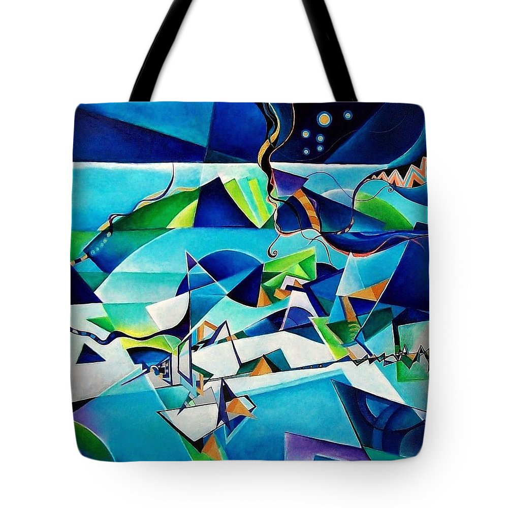 Landscpae Abstract Acrylic Wood Pens Tote Bag featuring the painting Landscape by Wolfgang Schweizer