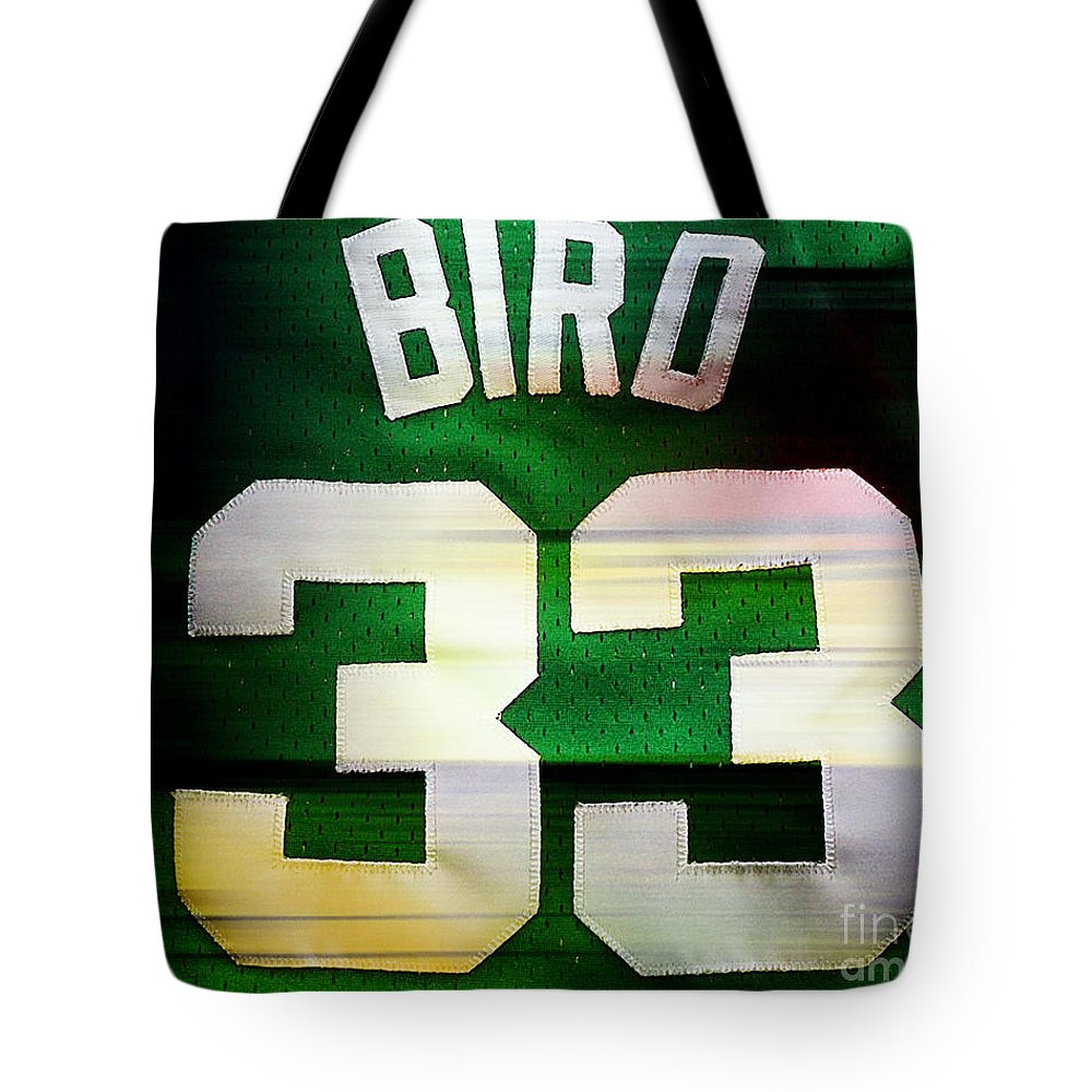 Bird Paintings Tote Bag featuring the mixed media Larry Bird by Marvin Blaine