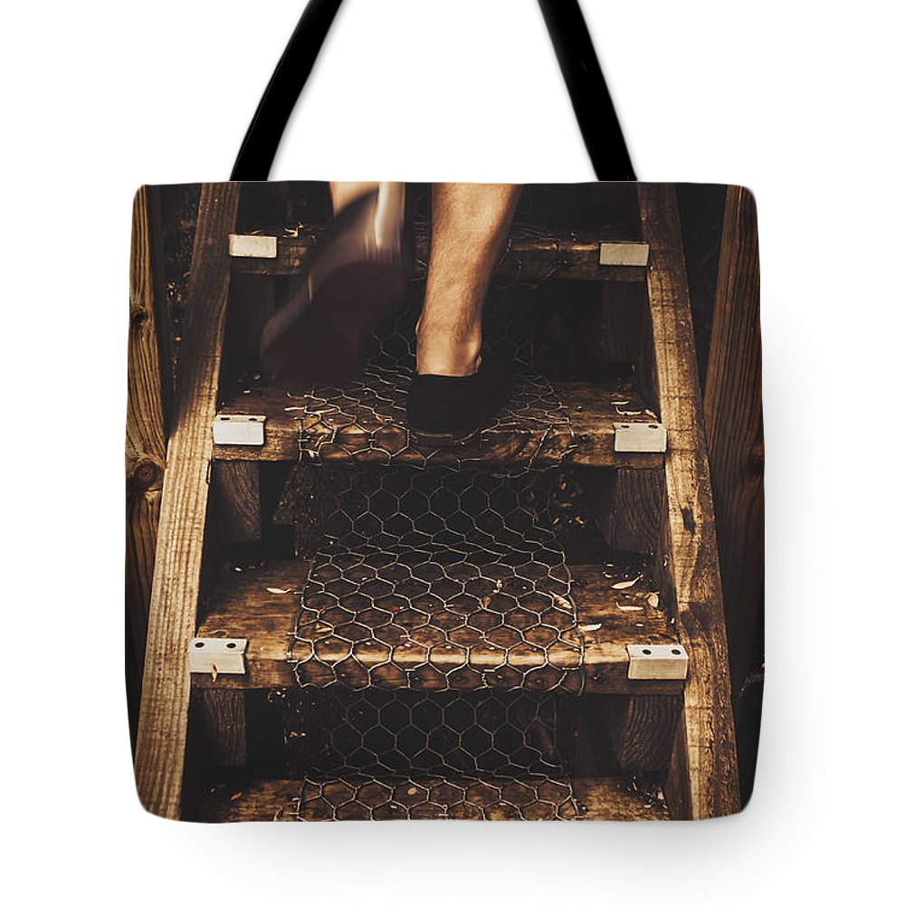 Bushwalker Tote Bag featuring the photograph Legs Of A Bushwalking Man Climbing Wooden Stairs by Jorgo Photography - Wall Art Gallery