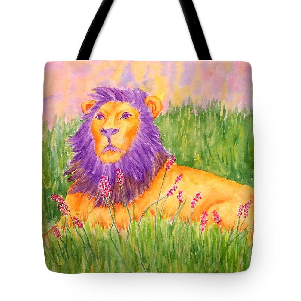 Lion Tote Bag featuring the painting Leonard by Rhonda Leonard
