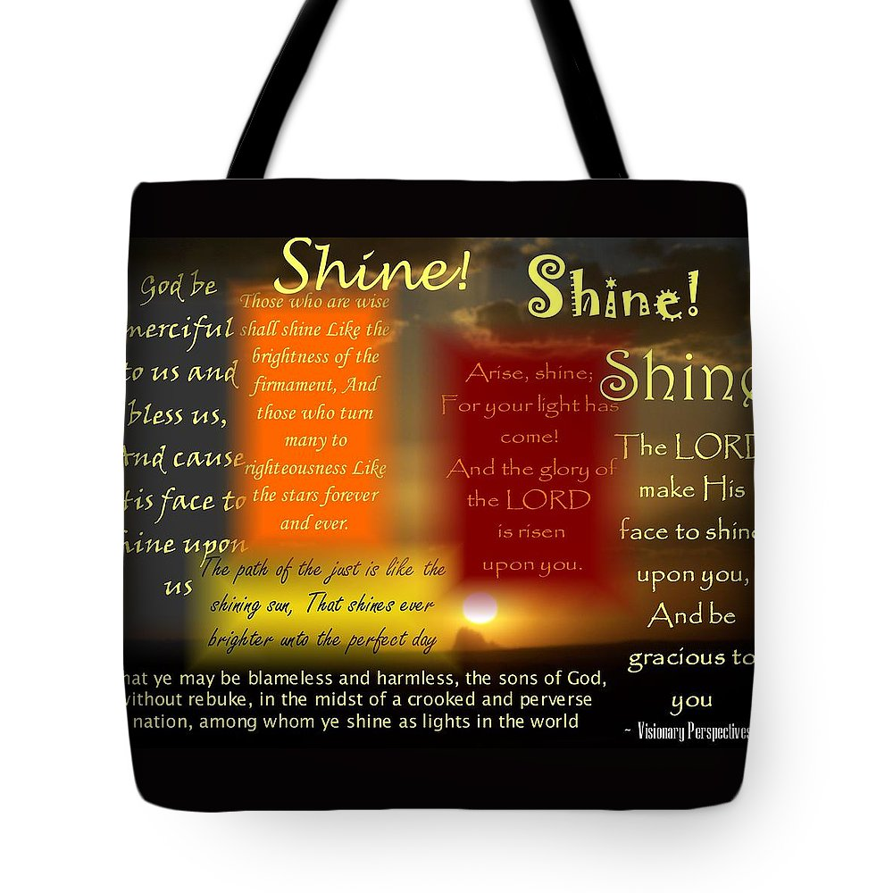 Shine Tote Bag featuring the digital art Let Your Light Shine by Jewell McChesney