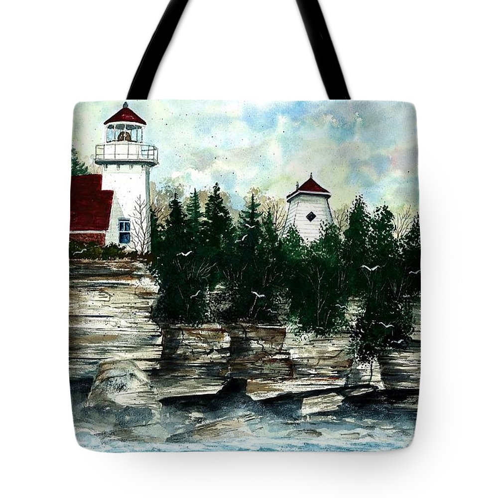 Lighthouse Tote Bag featuring the painting Lighthouse Cliff by Steven Schultz