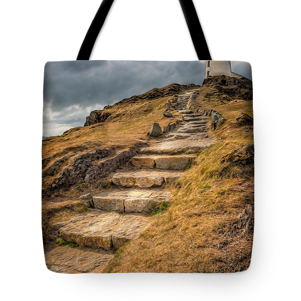 Anglesey Tote Bag featuring the photograph Lighthouse Steps by Adrian Evans