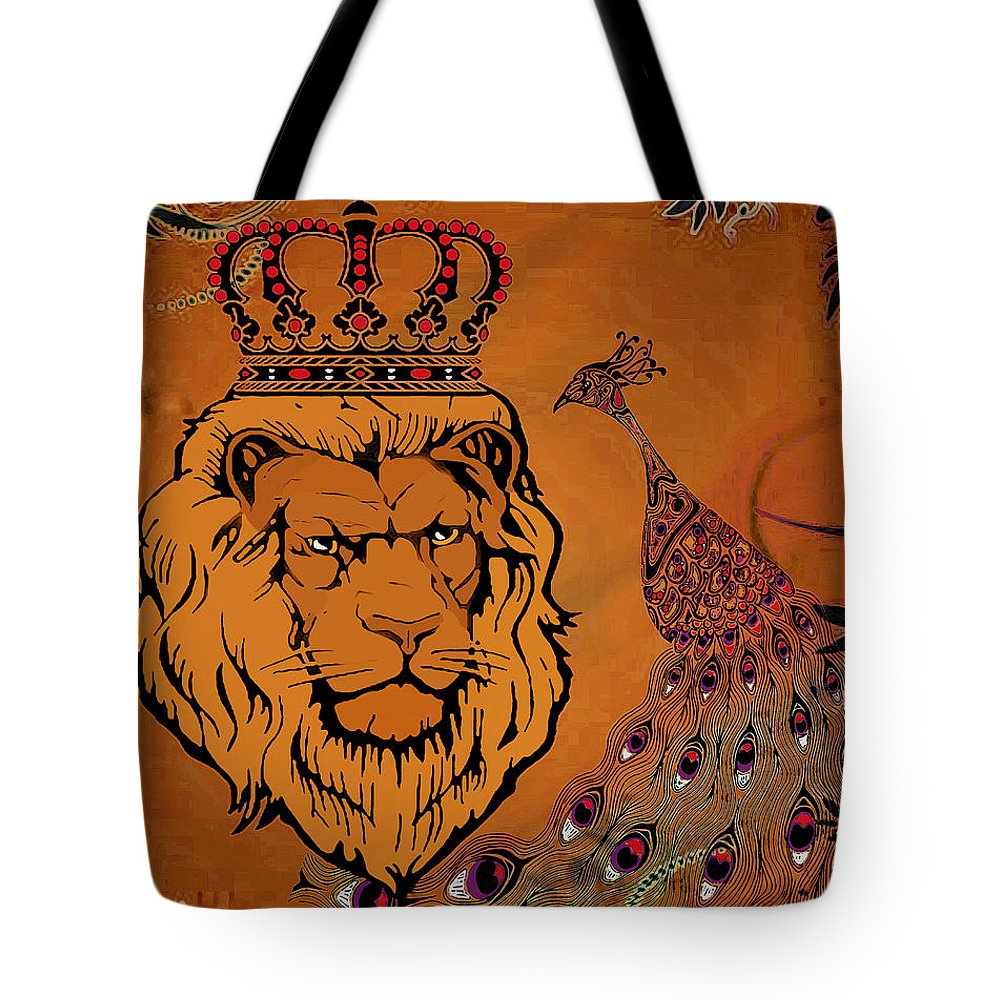 Lion Tote Bag featuring the mixed media Lion And The Peacock by Catherine Harms