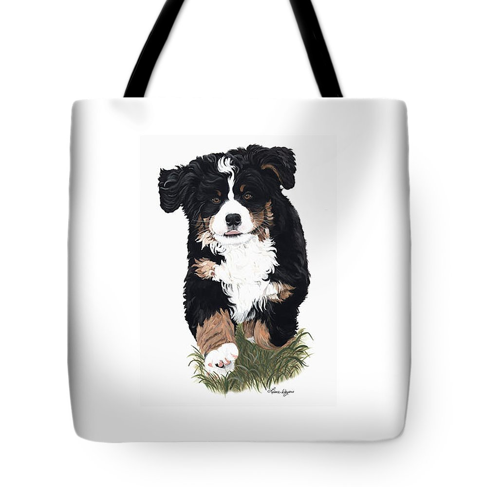 Bernese Mountain Dog Running Playing In Grass Tote Bag featuring the painting Little Ms. Muffet by Liane Weyers