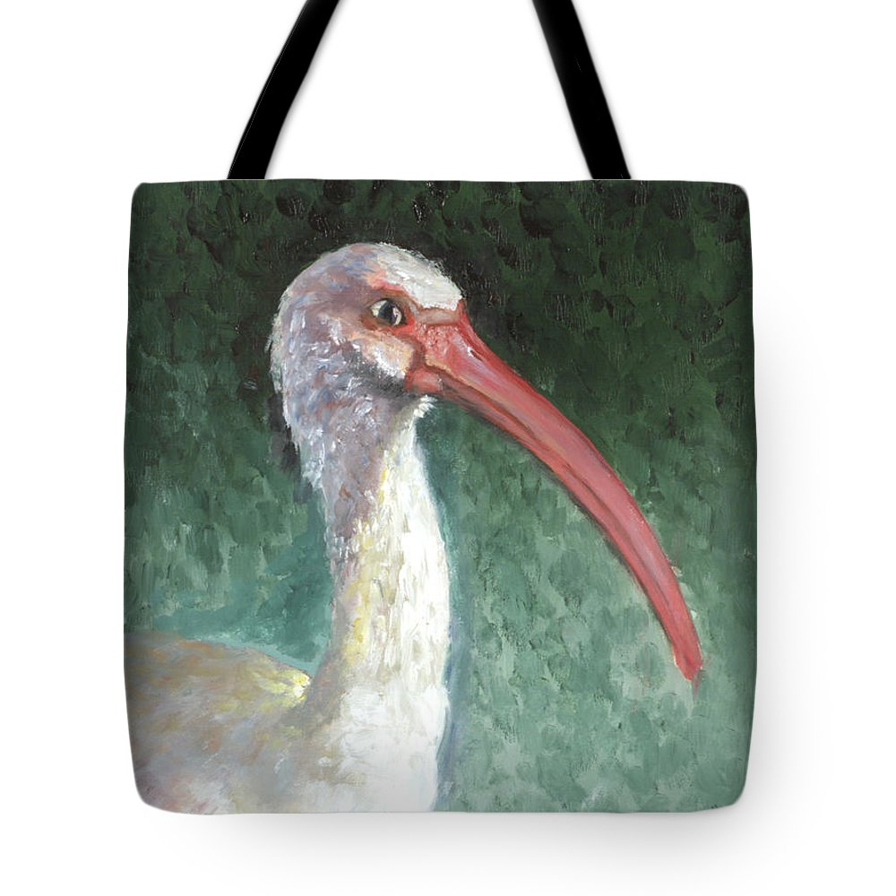 Wildlife Tote Bag featuring the painting Lone Ibis by Peter Bonk