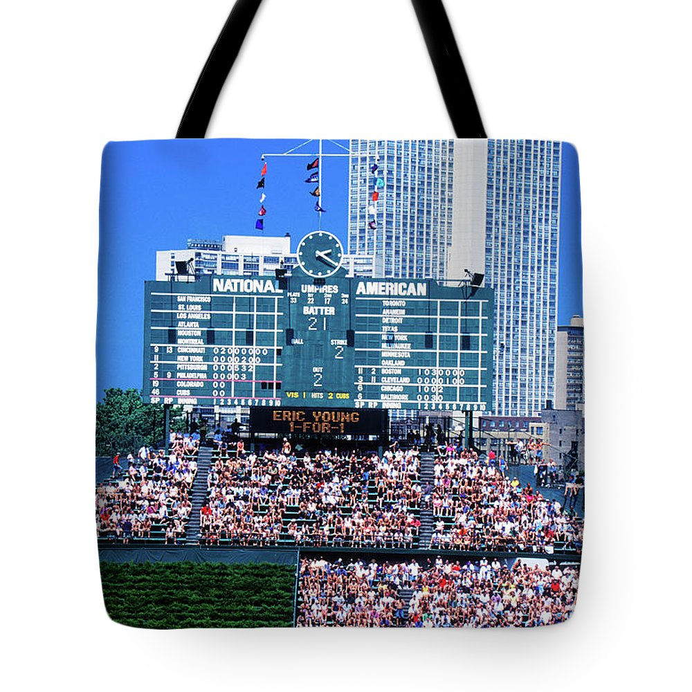 Photography Tote Bag featuring the photograph Long View Of Scoreboard And Full by Panoramic Images