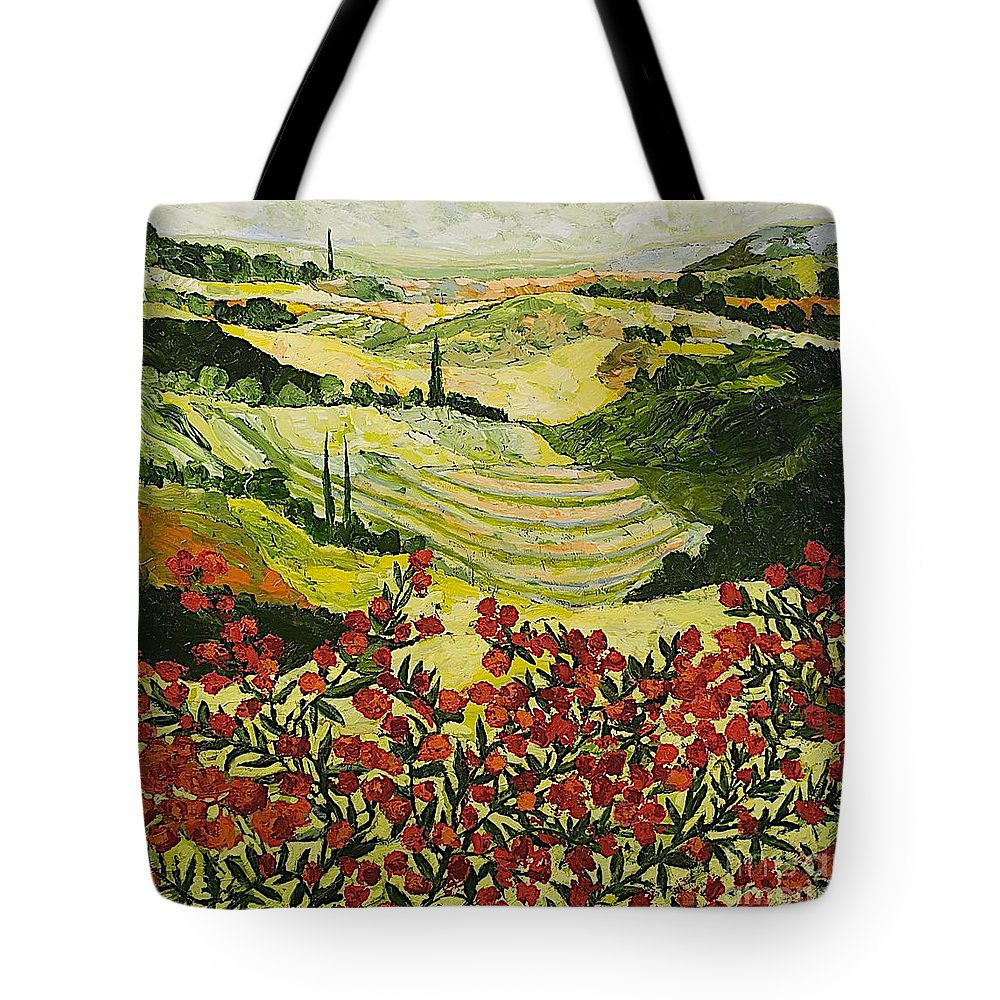 Landscape Tote Bag featuring the painting Look And Behold by Allan P Friedlander