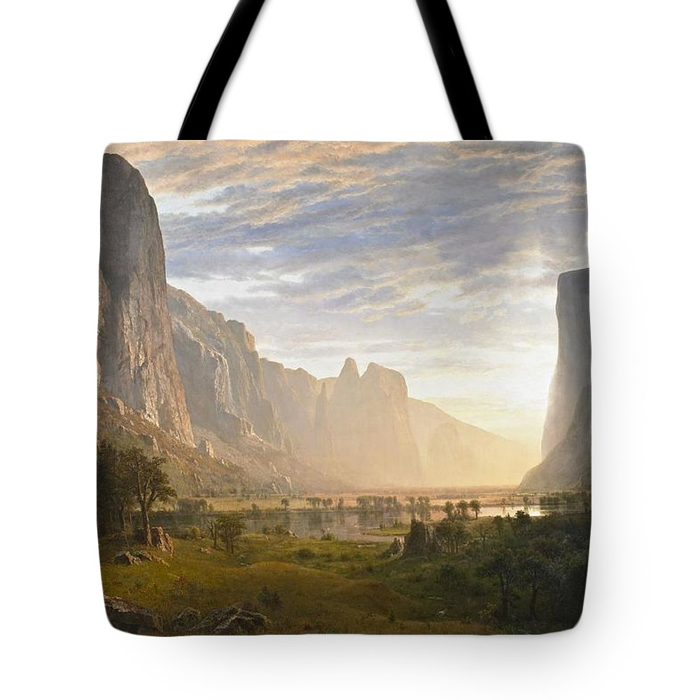 Albert Bierstadt Tote Bag featuring the painting Looking Down Yosemite Valley by Celestial Images