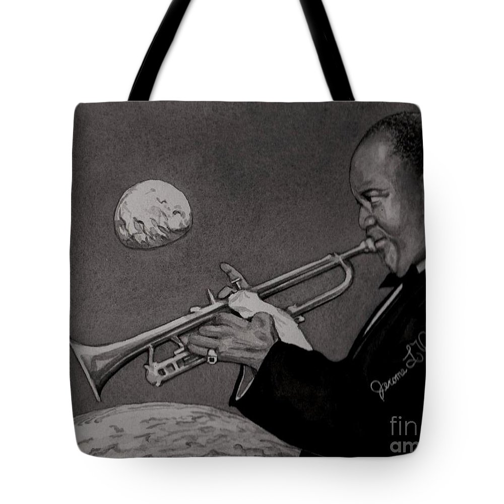 Sax Tote Bag featuring the painting Louis Armstrong by JL Vaden