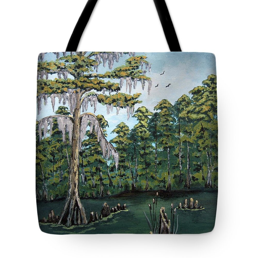 Landscape Tote Bag featuring the painting Louisiana Cypress by Suzanne Theis