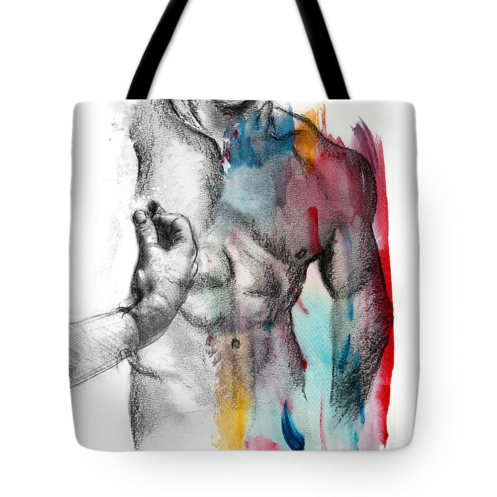 Male Nude Art Tote Bag featuring the painting Love Colors 5 by Mark Ashkenazi