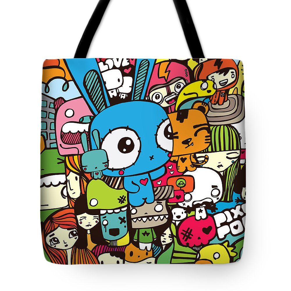 Pixopop Tote Bag featuring the digital art Lovely Stack Color by Pixopop