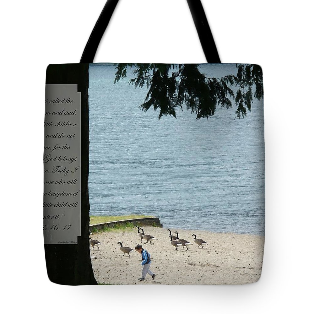 Luke 18:16-17 Tote Bag featuring the photograph Luke Eighteen Sixteen To Seventeen Running With The Geese by Nicki Bennett