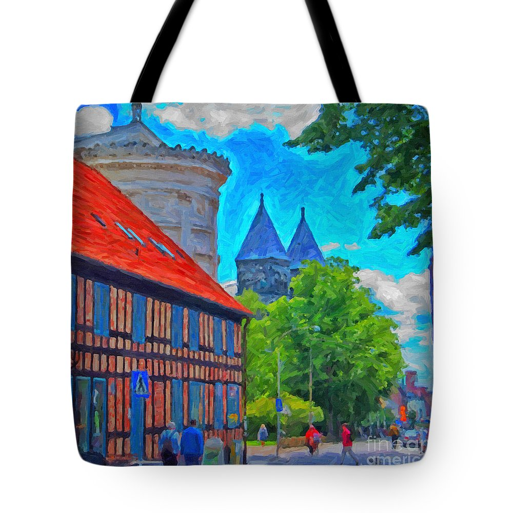 Lund Tote Bag featuring the painting Lund Street Scene by Antony McAulay