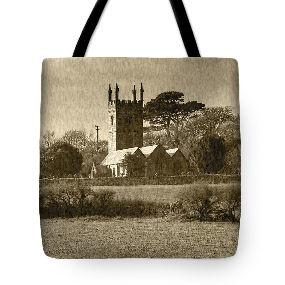 Cornish Landscape Tote Bag featuring the photograph Mabe Church by Brian Roscorla