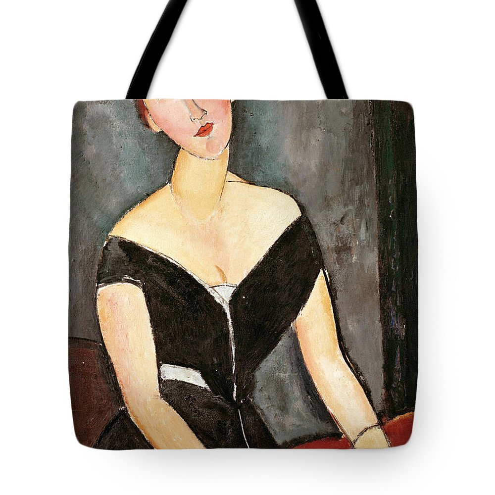 Amedeo Modigliani Tote Bag featuring the painting Madame G Van Muyden by Celestial Images