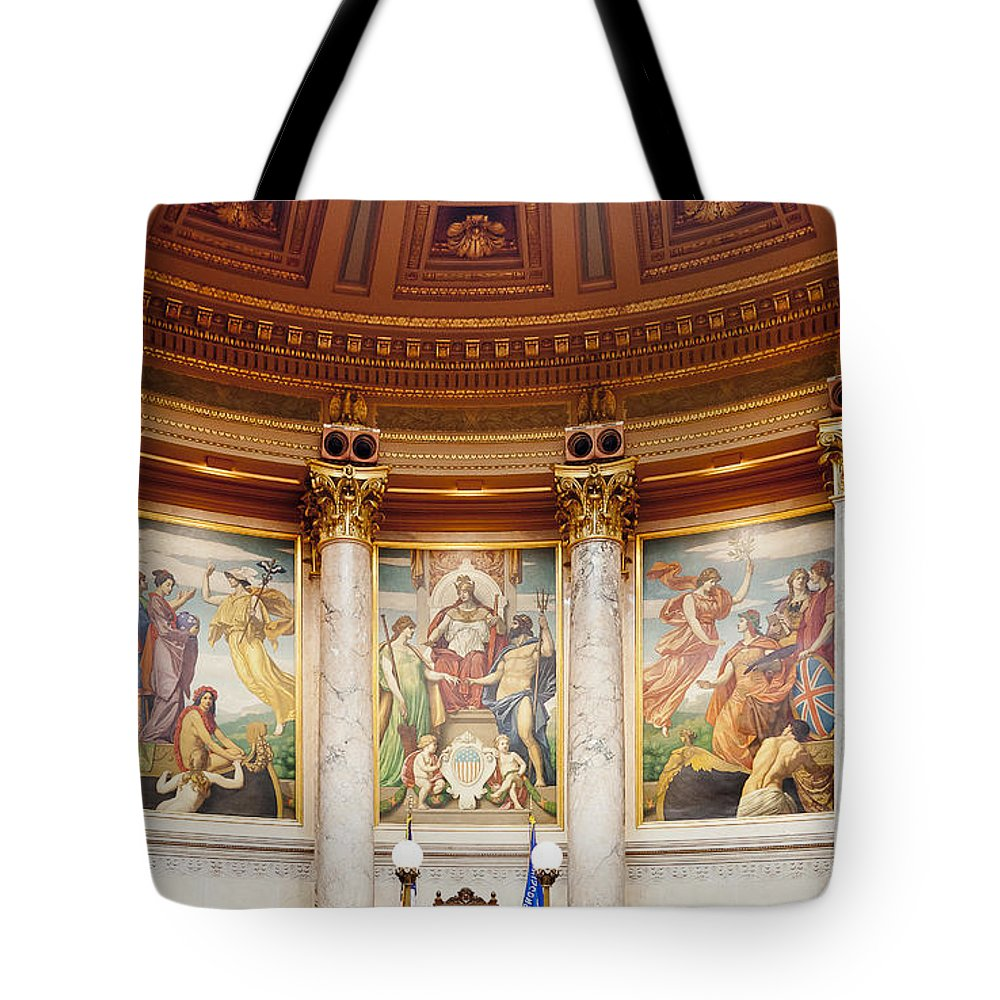 Capitol Tote Bag featuring the photograph Murals In The Capitol - Madison by Steven Ralser