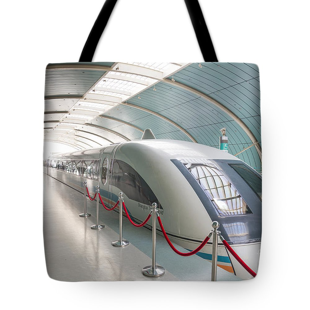 Architecture Tote Bag featuring the photograph Maglev Train In Shanghai China by Jacek Malipan