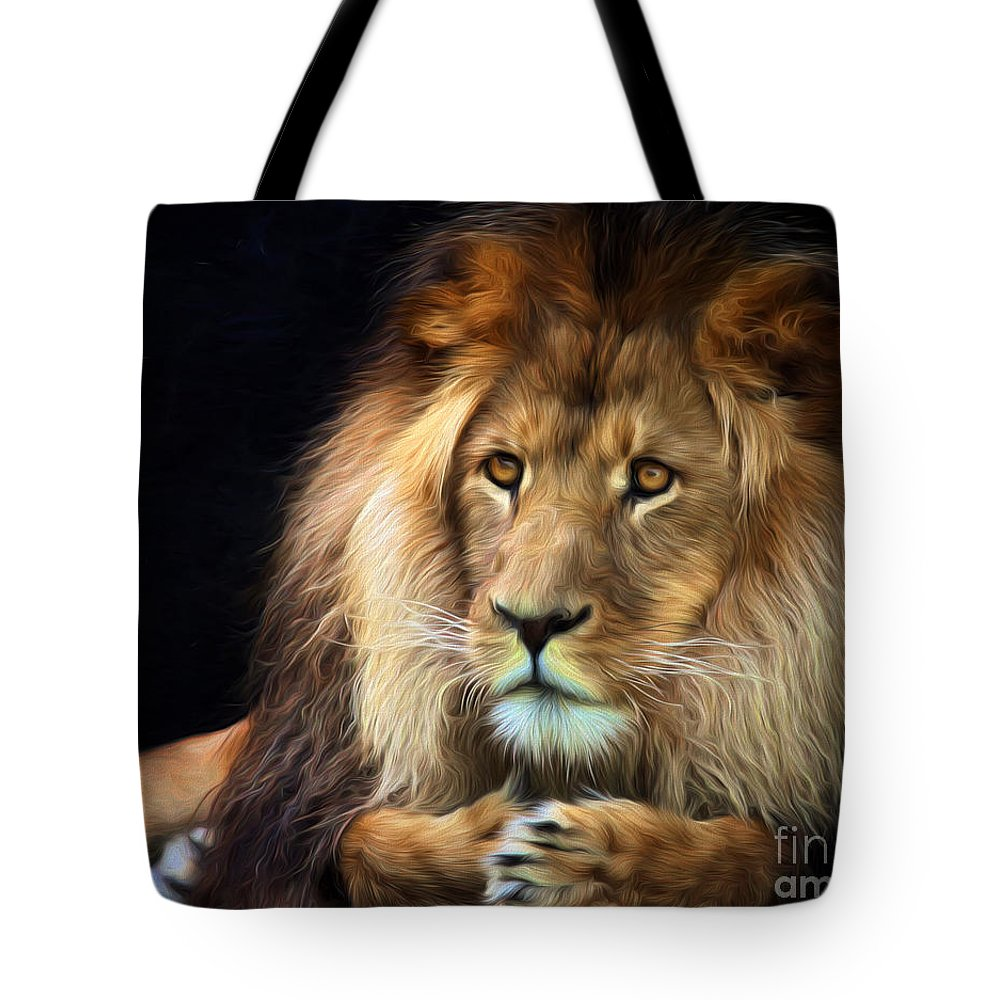 Lion Tote Bag featuring the photograph Magnificent Lion by Sheila Smart Fine Art Photography