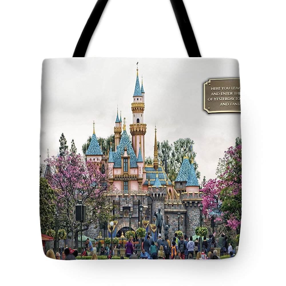 Disney Tote Bag featuring the photograph Main Street Sleeping Beauty Castle Disneyland 01 by Thomas Woolworth